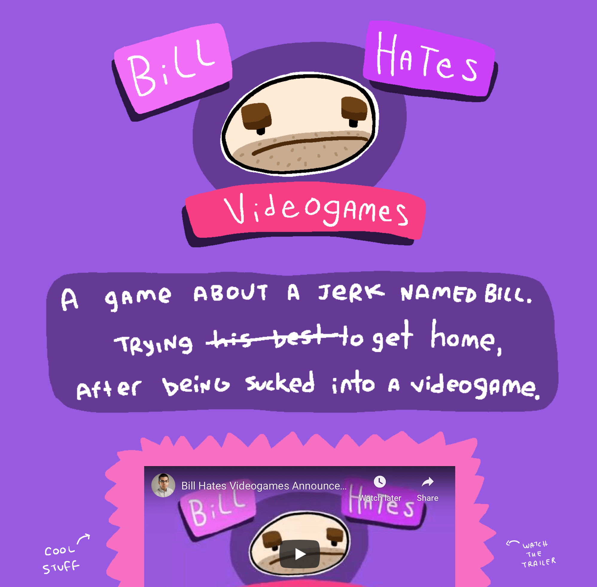 a screenshot of the Bill Hates Videogames website