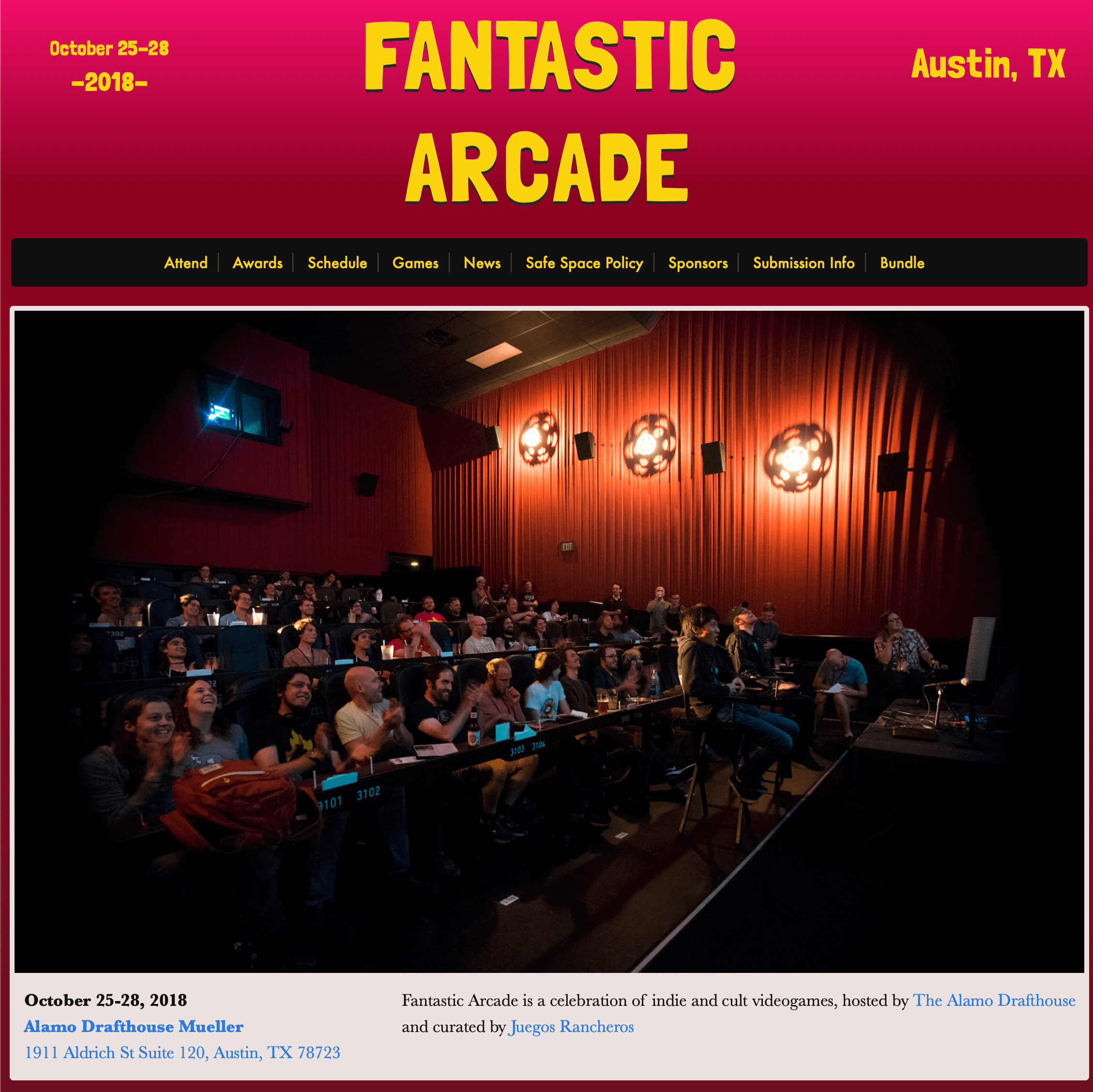 a screenshot of the Fantastic Arcade website