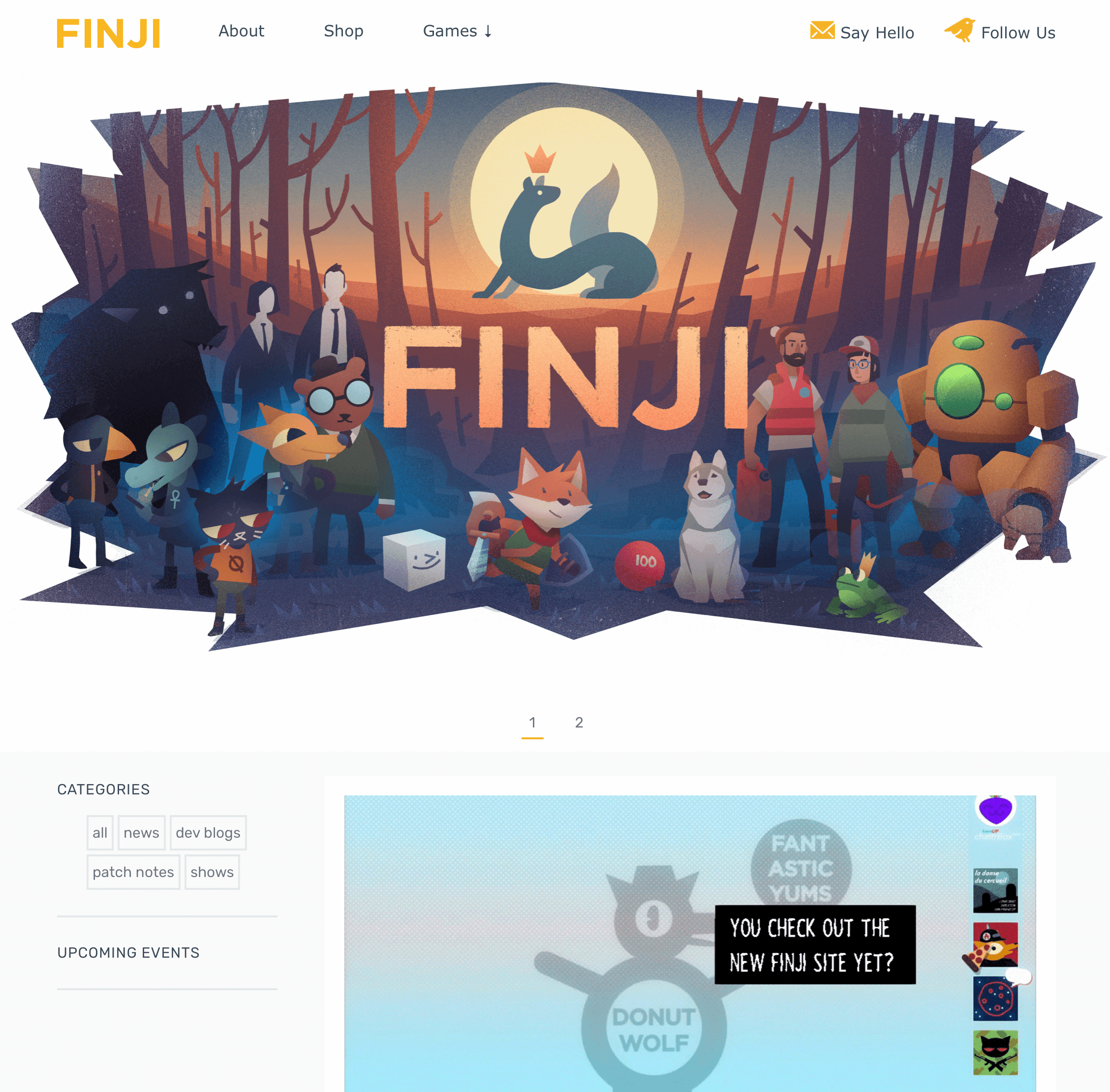 a screenshot of the Finji website