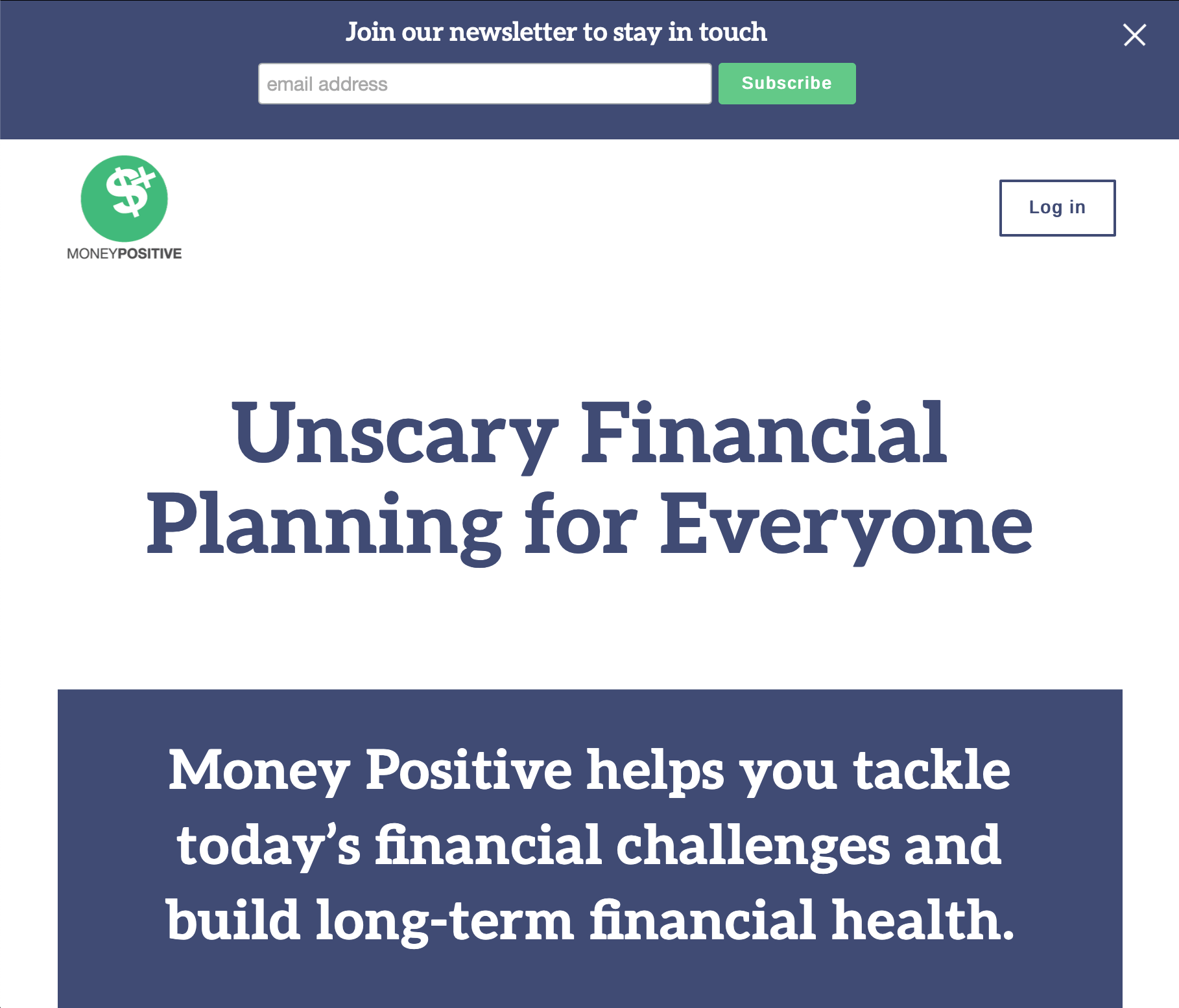 a screenshot of the Money Positive website